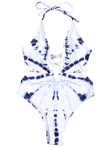New One-piece Swimsuit White Smudge Temperament Lady Triangle Vacation Swimsuit Bikini