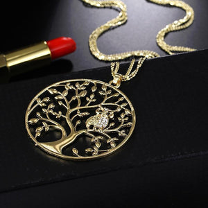 Character Owl Pendant Necklace Creative Life Tree Hollow Sweater Chain Pendant