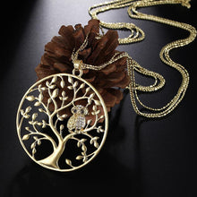 Load image into Gallery viewer, Character Owl Pendant Necklace Creative Life Tree Hollow Sweater Chain Pendant