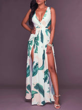Load image into Gallery viewer, Sexy Printed V Neck Sleeveless Backless Split Maxi Dress