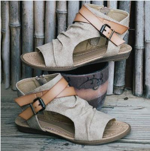 Beach Open Toe Flat Solid Color Side Zipper Sandals