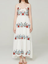 Load image into Gallery viewer, 2018 New Spaghetti Strap Floral Embroidered Maxi Dress