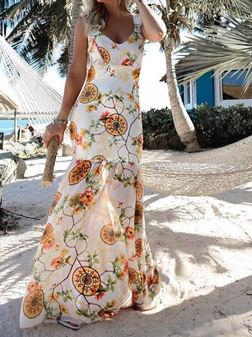 2018 New Print V Neck Sleeveless Chiffon Mermaid Beach Maxi Dress