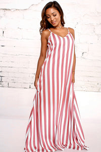 Stripe Spaghetti Strap Loose Maxi Long Dress