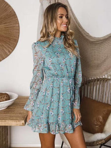 Fashion Lace Floral Ruffle Long Sleeve Mini Dress