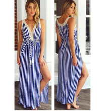 Load image into Gallery viewer, Stripe Sleeveless Side Split Beach Maxi Dress