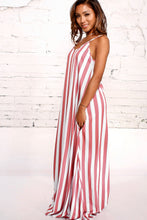 Load image into Gallery viewer, Stripe Spaghetti Strap Loose Maxi Long Dress