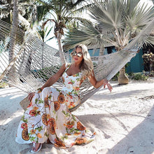Load image into Gallery viewer, 2018 New Print V Neck Sleeveless Chiffon Mermaid Beach Maxi Dress