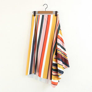 Stripe Irregular Fashion Beach Skirt