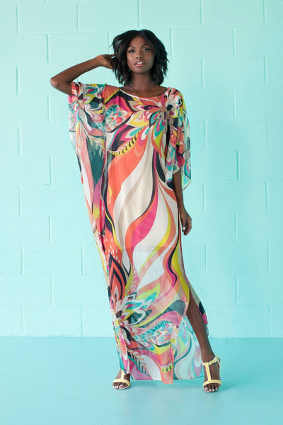 Print Chiffon Split Long Beach Bikini Cover Up