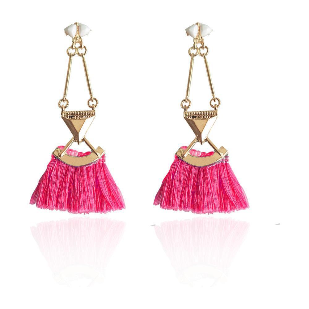 Boho rosy blue rope statement tassel earrings fashion jewelry long ethnic women accessories party Xmas