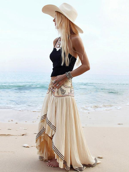 Print High Waist Irregular Beach Skirt