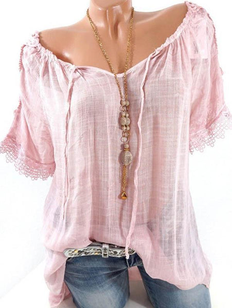 Solid Color Off Shoulder Ruffle Short Sleeve Blouse Tops