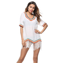 Load image into Gallery viewer, Knit Tassel Short Sleeve Tops Swimwear Bikini Cover Up