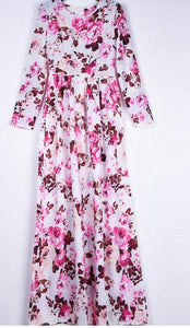 New Summer Printed Long Sleeve High Waist Maxi Dress