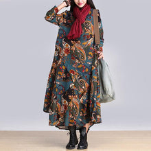 Load image into Gallery viewer, Vintage Print Long Sleeve Loose Maxi Dress