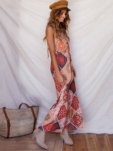 Print Spaghetti Strap Wide Leg Pants Jumpsuit Rompers