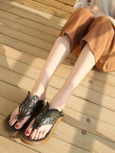 Summer Beach Literature Genuine Leather Slipper