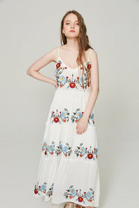2018 New Spaghetti Strap Floral Embroidered Maxi Dress