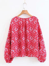 Load image into Gallery viewer, Boho Floral Long Sleeve V Neck Top Blouse