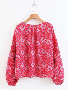 Boho Floral Long Sleeve V Neck Top Blouse