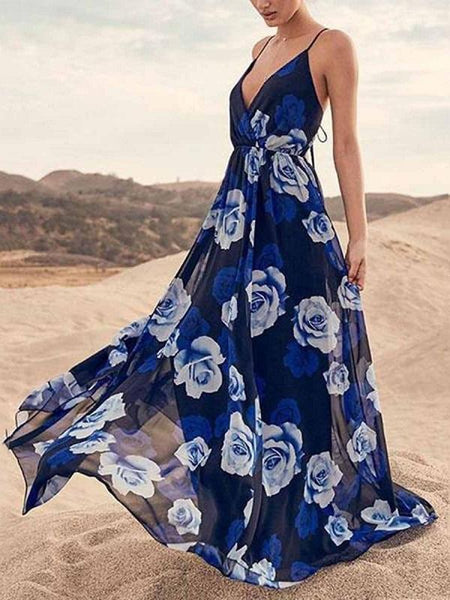 Fashion V Neck High Waist Spaghetti Strap Beach Maxi Dress