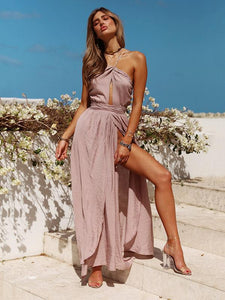 Sexy Solid Color Side Split Backless Boho Maxi Dress