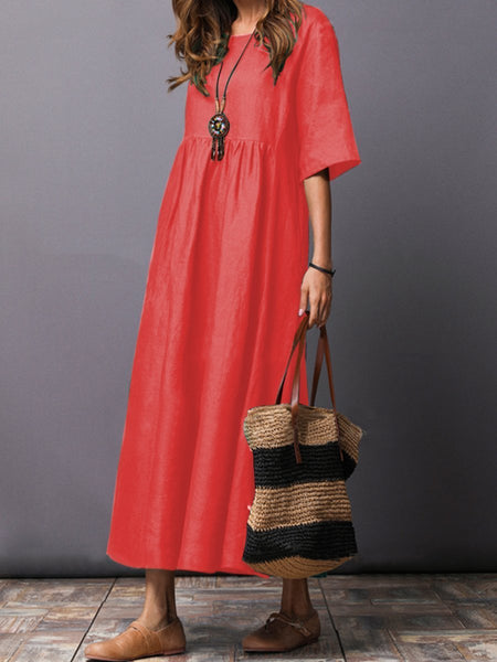 Solid Color Short Sleeve Loose Casual Maxi Dress - 2