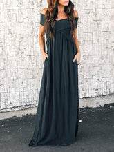 Load image into Gallery viewer, Solid Split-Joint Cross Collar Maxi Dresses