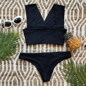 Solid Color Bikini Bandage Swimsuit Sexy Split Swimsuit