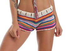 Load image into Gallery viewer, Colorful Stripes Hand Hook Beach Sexy Holiday Sunscreen Top Shorts Skirt Suit