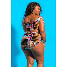 Load image into Gallery viewer, Solid Color Print Plus Size Swimsuit Bikini