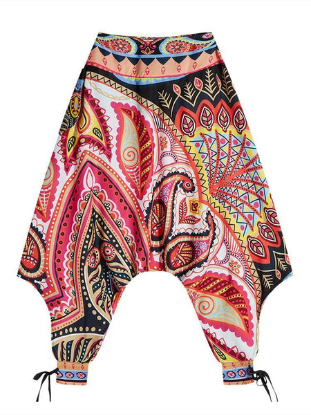 Women's Bohemian Digital Print Bottom with High Waist Showing Thin and Loose Waisted Lantern Pants