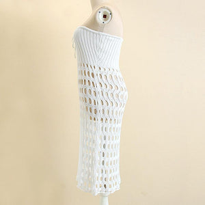 Sexy Wool Knitting Two Wear Hollow Bodycon Dress