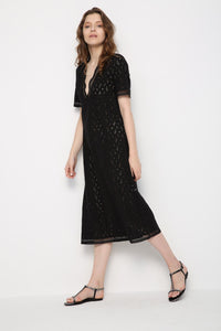 Hollow V Neck Short Sleeve Bohemia Maxi Dress