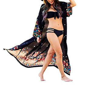 2018 New Print Chiffon Beach Long Bikini Cover Up