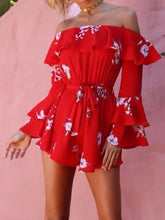 Load image into Gallery viewer, Off Shoulder Long Bell Sleeve Belted Short Jumpsuit Rompers