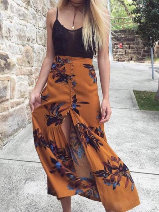 Print Button Beach Boho Skirt