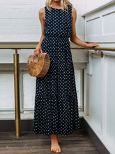Load image into Gallery viewer, Polka Dot Sleeveless Summer Maxi Dress