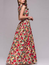 Load image into Gallery viewer, Vintage Flower Sleeveless Swing Maxi Dress