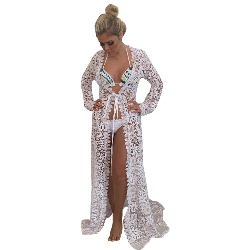 Sexy Lace Long Sleeve Cardigan Bikini Swimwear Cover Up