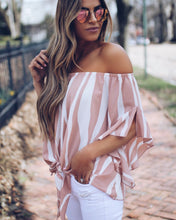 Load image into Gallery viewer, Stripe Off Shoulder Trumpet Sleeve Tops Shirt Blouses