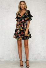 Load image into Gallery viewer, Summer Floral Print V Neck Short Sleeve Mini Dress