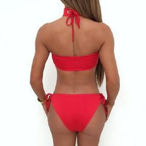 Sexy Swimwear Beach Solid Color Bikini Two Pieces Set