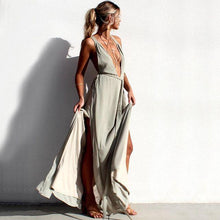 Load image into Gallery viewer, Deep V Neck Sleeveless Solid Color Beach Maxi Dress