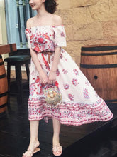 Load image into Gallery viewer, Pretty Bohemia Floral Off Shoulder Short Sleeve Beach Dress Maxi Dress