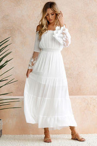 White Off Shoulder Long Sleeve Beach Maxi Dress