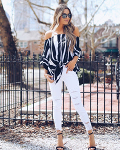 Stripe Off Shoulder Trumpet Sleeve Tops Shirt Blouses