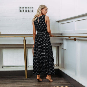 Polka Dot Sleeveless Summer Maxi Dress