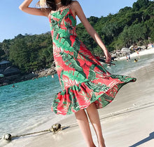 Load image into Gallery viewer, Print Spaghetti Strap Beach Dress